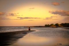 Solnedgång för Chesapeakefjärd Arkivbilder