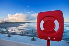 solnedgång för cirkel för strandlivstid röd Arkivbilder