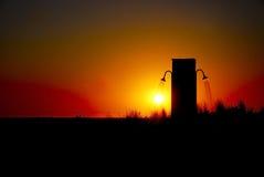 solnedgång för dusch för luftstrand öppen Royaltyfri Fotografi