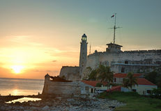 solnedgång för el-fästningmorro royaltyfria foton
