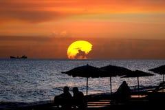 solnedgång för fjärdfrigatesilhouette Royaltyfria Foton