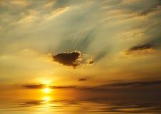 solnedgång för hav för bakgrundsbild Fotografering för Bildbyråer