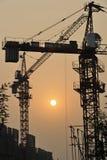 solnedgång för konstruktionslokal Arkivbilder