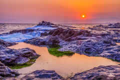 Solnedgång för korallrev Royaltyfria Foton