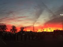 Solnedgång för marschmusikband Arkivbilder