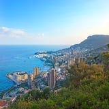 Solnedgång för Monaco Montecarlo flyg- siktscityscape. Royaltyfri Fotografi