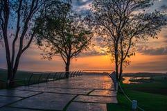 Solnedgång för morgontid för bakgrund Arkivbild