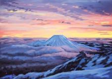 Solnedgång för natt för konst för begreppskonstillustration digital över berglandskapet royaltyfri illustrationer