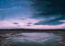 Solnedgång för natt för konst för begreppskonstillustration digital över sjölandskapet stock illustrationer
