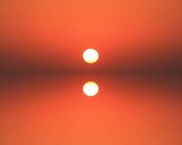solnedgång för orange red Royaltyfri Bild