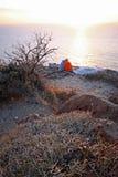solnedgång för pargreece romantiker Fotografering för Bildbyråer