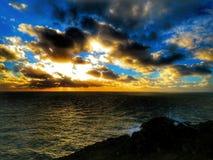 solnedgång för sammansättningsnaturseascape Royaltyfria Bilder