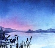 solnedgång för sky för aftonliggandehav stock illustrationer