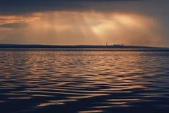 solnedgång för sky för aftonliggandehav Royaltyfri Foto