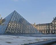 Solnedgång för solig dag för Louvreparis konstmusem Royaltyfri Bild