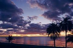 Solnedgång för South Pacific havstrand Arkivbilder
