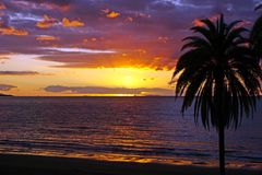 Solnedgång för South Pacific havstrand Royaltyfri Foto