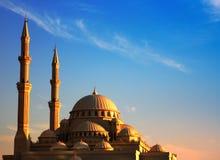 Solnedgång för st för AlNoor moské Royaltyfria Foton