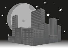 Solnedgång för stad 3d Arkivbild