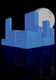 Solnedgång för stad 3d Arkivfoto
