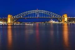 Solnedgång för Sydney Blues poing brosida arkivbilder