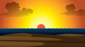 Solnedgång för vektorsommartapet Royaltyfria Foton