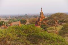 Solnedgång, forntida stupas och tempel Royaltyfria Foton