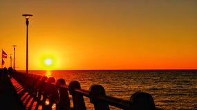 Solnedgång Forte dei Marmi Royaltyfri Foto