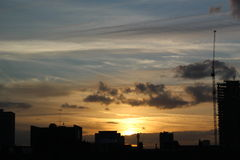 Solnedgång från östliga London Fotografering för Bildbyråer