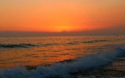 Solnedgång från alanyastad av kalkon Royaltyfria Bilder