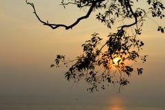Solnedgång från chuvarakovalam Arkivfoto