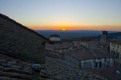 Solnedgång från det Cortona taket Royaltyfri Foto