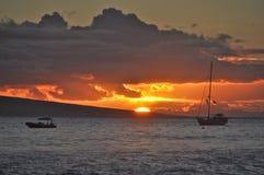 Solnedgång från Lahaina Royaltyfria Foton