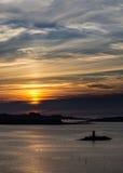 Solnedgång från Landeda & x28; France& x29; Royaltyfri Fotografi