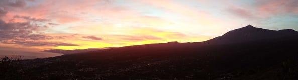 Solnedgång från Mirador Lomo Molino Royaltyfria Foton