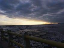 Solnedgång från pir Royaltyfria Bilder
