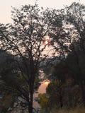 Solnedgång från ranch för tre floder arkivbilder