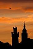 Solnedgång från St Peter Port royaltyfria foton