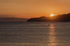 Solnedgång från Villasimius Royaltyfria Foton