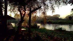 Solnedgång gjord skugga Arkivfoto