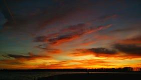 Solnedgång groningen Arkivbilder