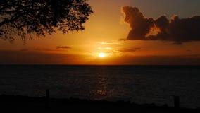 Solnedgång Guadeloupe Arkivbild
