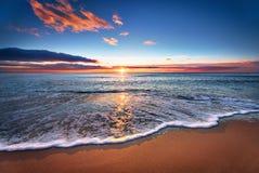 Solnedgång Härlig solnedgång på Black Sea Royaltyfri Fotografi