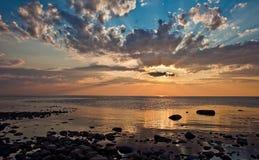 Solnedgång i Solovki Royaltyfria Foton