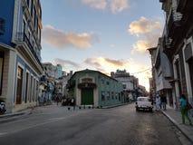 Solnedgång Havanna fotografering för bildbyråer