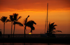 Solnedgång Hawaii, USA Arkivbild