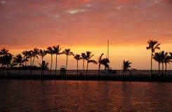 Solnedgång Hawaii, USA Fotografering för Bildbyråer