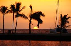 Solnedgång Hawaii, USA Arkivbilder