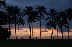 Solnedgång Hawaii, USA Arkivfoto
