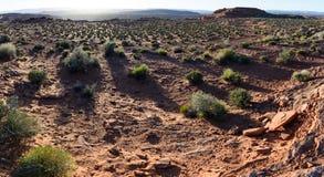 Solnedgång i öken runt om sidan Arizo för Grand Canyon hästskokrökning Royaltyfri Fotografi